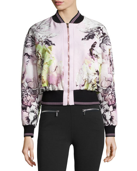 Roberto Cavalli Floral-Print Zip-Front Bomber Jacket, Pink/White