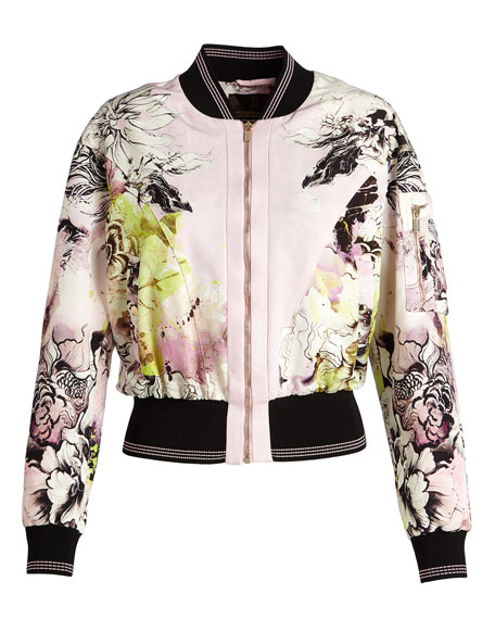 Floral-Print Zip-Front Bomber Jacket, Pink/White