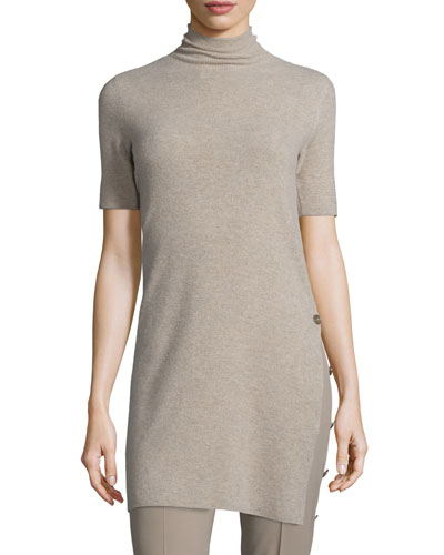 Short-Sleeve Side-Button Sweater, Taupe