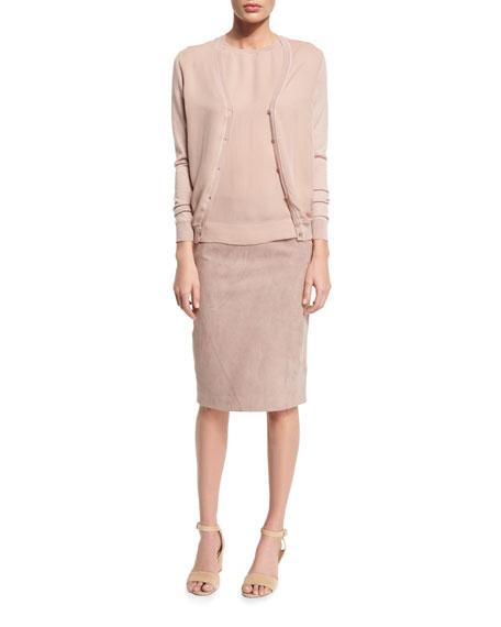 Cynthia Suede Pencil Skirt, Rose