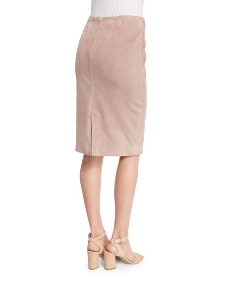 Cynthia Suede Pencil Skirt, Rose