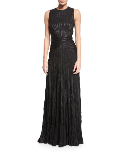Larisa Sleeveless Plisse Evening Gown, Black