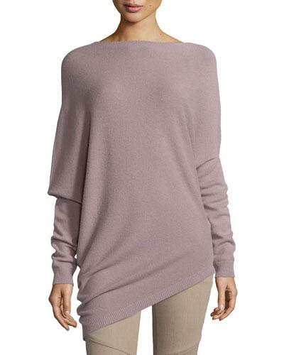 Asymmetric-Hem Cashmere Sweater, Dark Mauve
