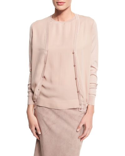 V-Neck Button-Front Cardigan, Rose
