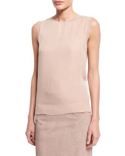 Jewel-Neck Slim-Fit Shell, Rose