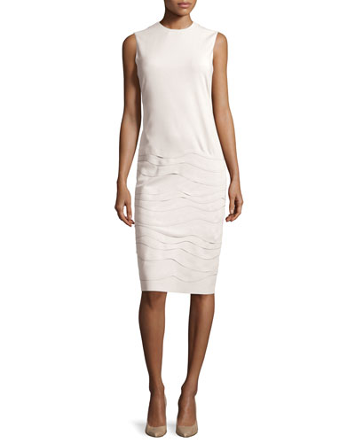 Sleeveless Layered Applique Dress, Cream
