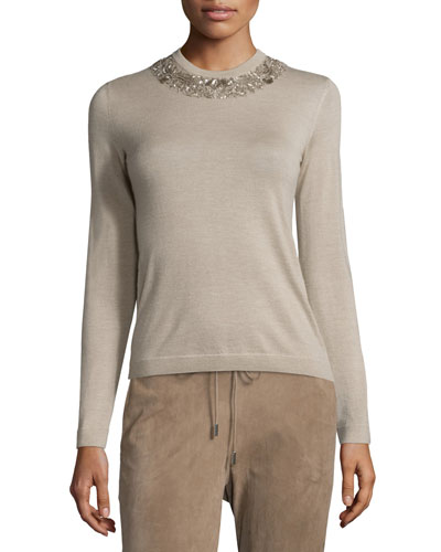 Embellished Jewel-Neck Cashmere Sweater, Oatmeal