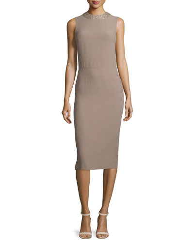 Georgia Embellished Jewel-Neck Dress, Taupe