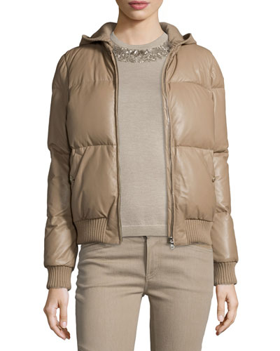Hooded Leather Puffer Jacket, Taupe