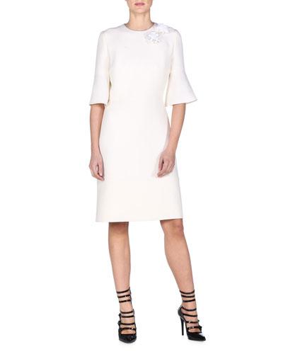 Trumpet-Sleeve Dress W/Floral Appliqué, White