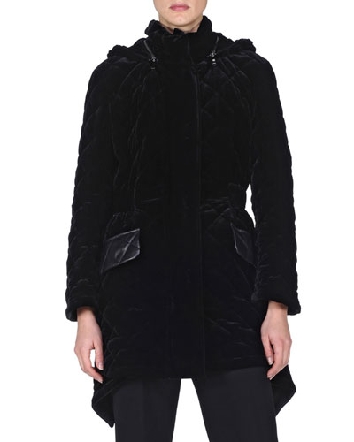 Quilted-Velvet High-Low Jacket, Black
