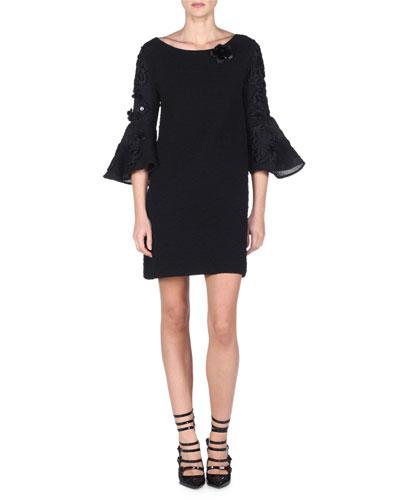 Trumpet-Sleeve Shift Dress with Fur Flower, Black