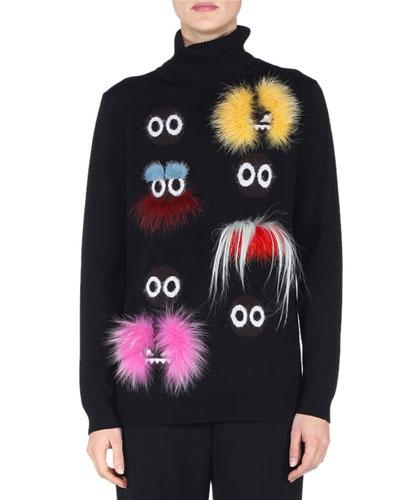 Long-Sleeve Fur-Embellished Monster Sweater, Black