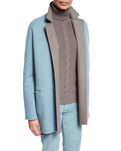 Jimi Open-Front Reversible Coat, Pearl Blue/Silver Myrtle
