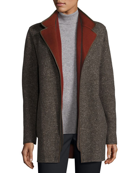 Barnet Reversible Tweed Coat, Oxford/Karkadé Red