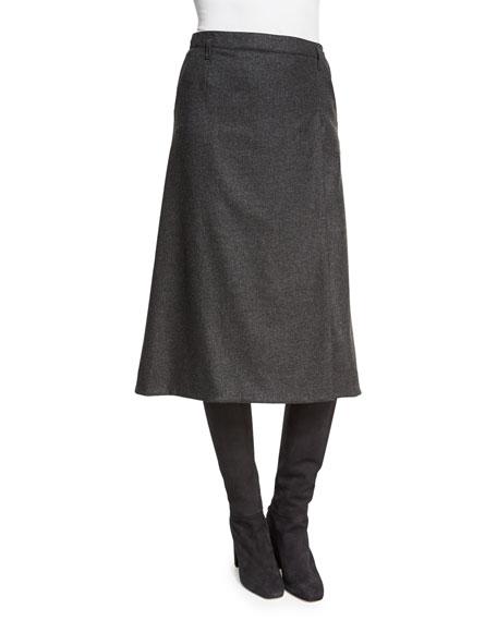 Loro Piana Jenny Faux-Wrap Skirt, Charcoal Melange