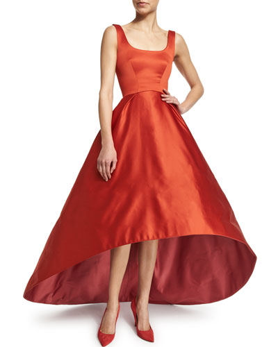 Sleeveless Fit-&-Flare High-Low Gown, Brick