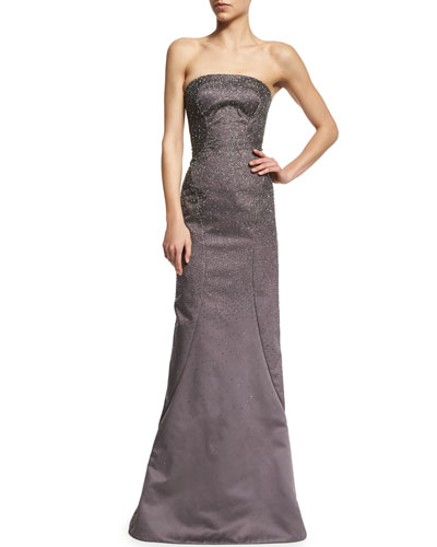 Strapless Embellished Gown, Heather Gray