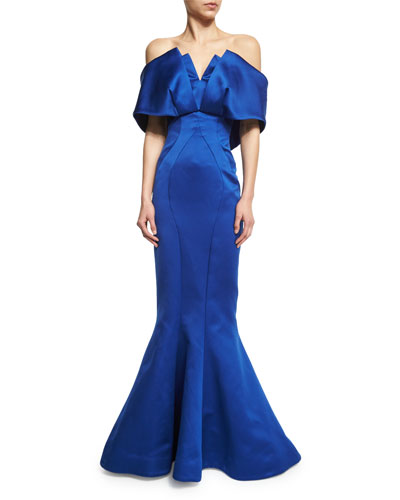 Off-the-Shoulder Mermaid Gown, Royal Blue