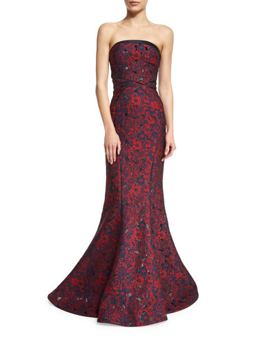 Strapless Floral-Print Mermaid Gown, Floral