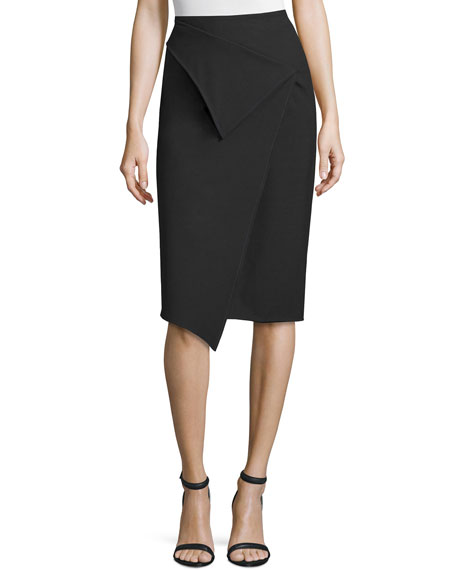 Zac Posen High-Waist Faux-Wrap Pencil Skirt, Black