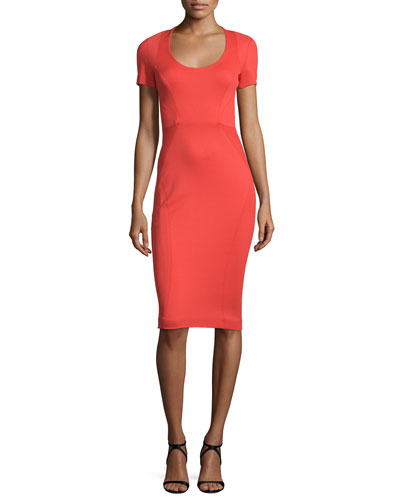 Short-Sleeve Fitted Sheath Dress, Coral