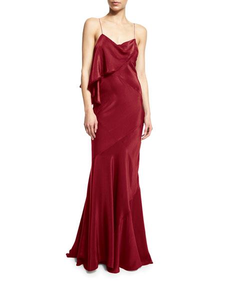 Zac PosenSleeveless Draped-Ruffle Gown, Red