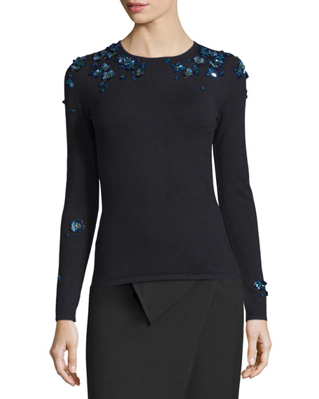 Zac Posen Long-Sleeve Embellished Sweater, Black