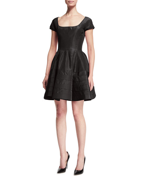 Zac Posen Short-Sleeve Fit-&-Flare Cocktail Dress, Midnight