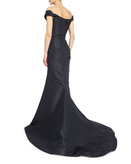 Pleated Off-The-Shoulder Evening Gown, Midnight