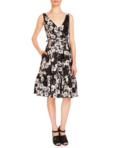 Gaby Floral-Print Dress W/Pockets, Black/White