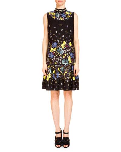 Nena Lily-Print Flounce-Hem Dress, Black/Multi