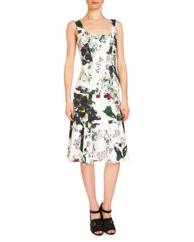 Tate Sleeveless Fit-&-Flare Dress, White