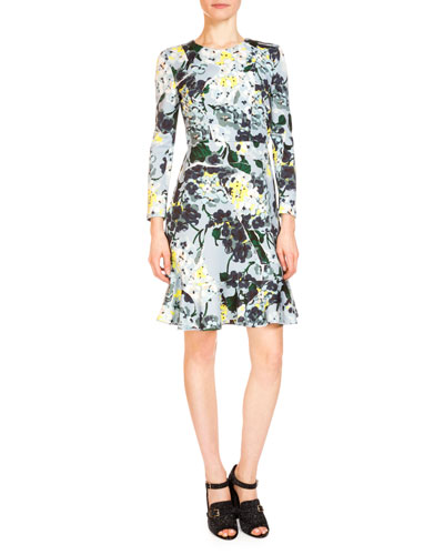 Judy Long-Sleeve Flounce-Hem Dress, Light Blue/Multi