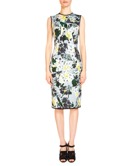 Maura Hydrangea-Print Sheath Dress, Light Blue/Multi