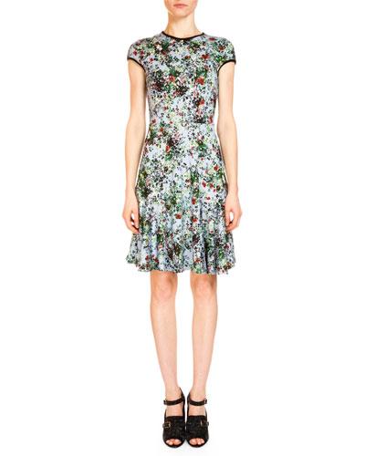 Daina Cap-Sleeve Fit-&-Flare Dress, Light Blue/Green