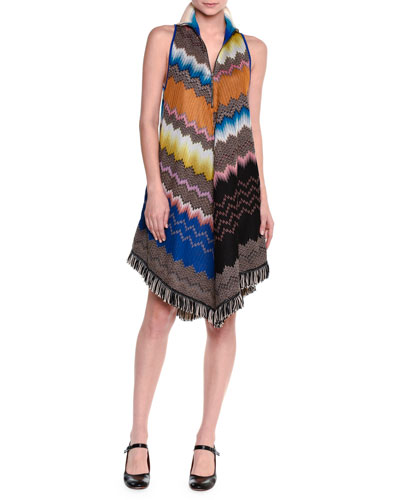 Sleeveless Zigzag A-Line Dress, Gray/Multi