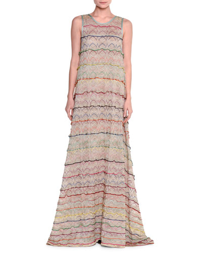 Sleeveless Tiered-Ruffle A-Line Gown, Beige/Multi