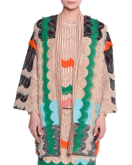 Missoni Ruffled Zigzag Open-Front Cardigan, Beige/Multi