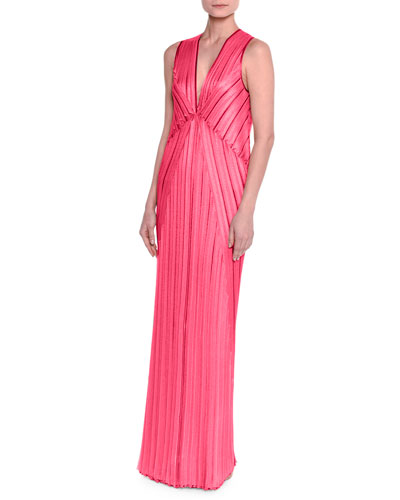 Sleeveless V-Neck Pleated Knit Gown, Fuchsia