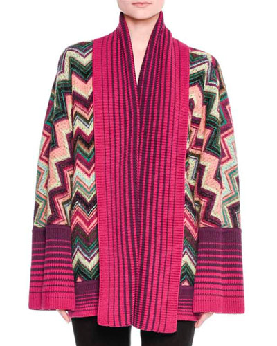 Open-Front Reversible Cozy Cardigan, Pink/Multi