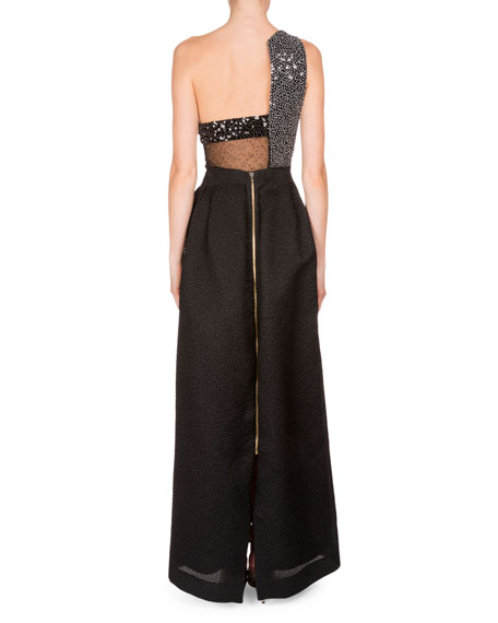One-Shoulder Embellished Gown, Black