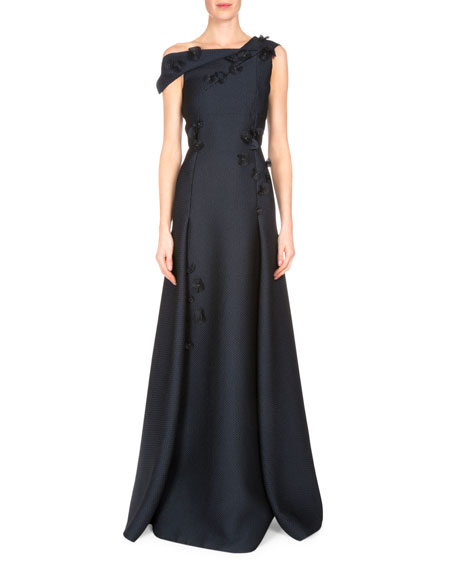 Rocher 3-D Floral-Embellished Gown, Navy