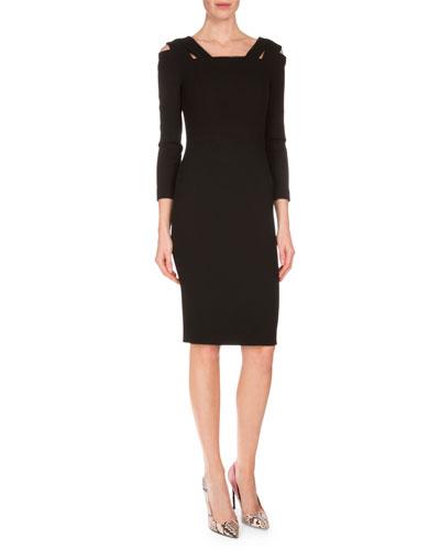Bleaker Cold-Shoulder Sheath Dress, Black