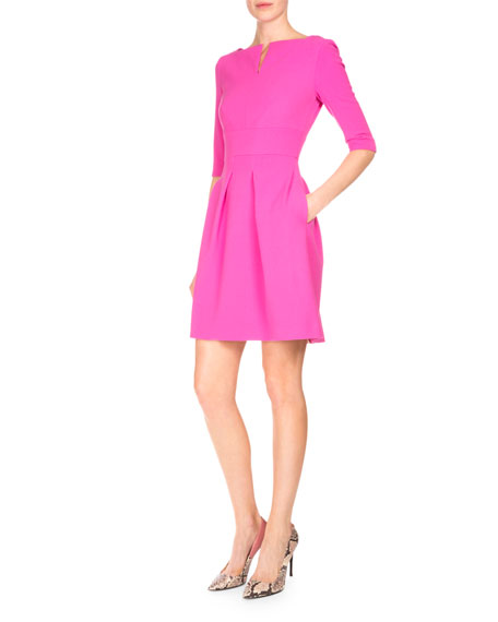 Stanpoe Split-Neck Party Dress, Candy Pink