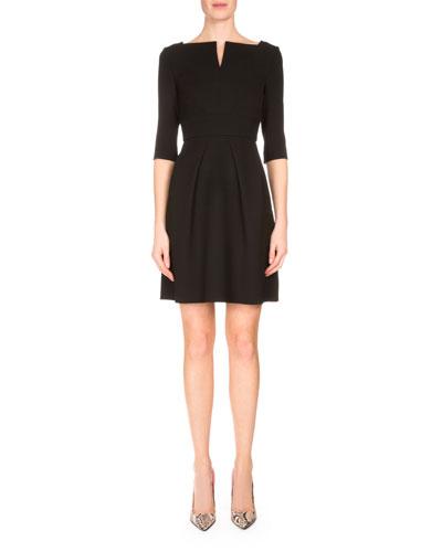 Stanpoe Split-Neck Party Dress, Black