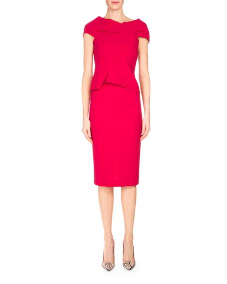 Roland Mouret Balvern Pleated-Bodice Sheath Dress, Raspberry