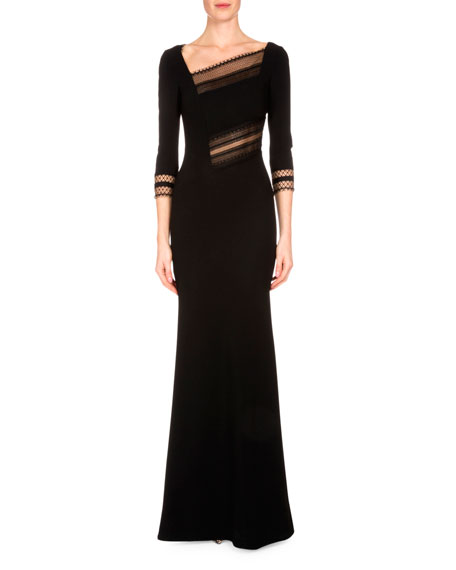 Beaumont Lace-Inset Mermaid Gown, Black