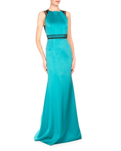 Cavell Lace-Inset Mermaid Gown, Aqua/Black