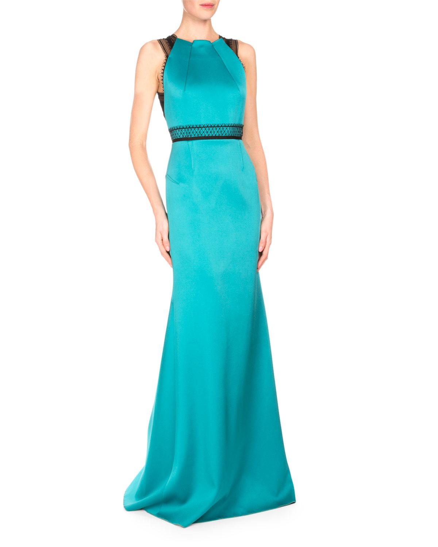 Roland Mouret Cavell Lace-Inset Mermaid Gown, Aqua/Black | Neiman Marcus